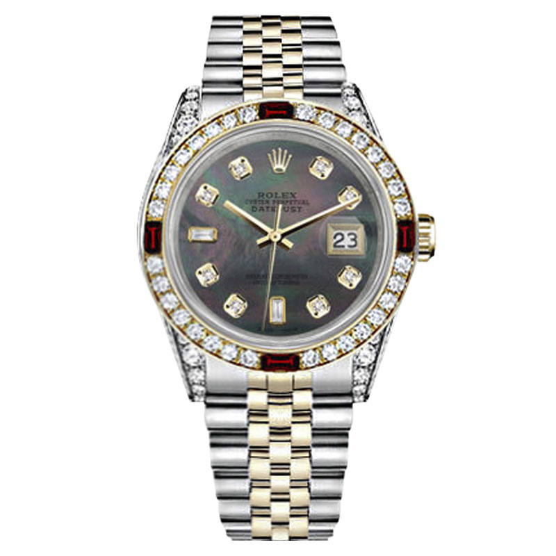 """Image of """"Rolex Datejust Stainless Steel and Yellow Gold with Black Mother of"""""""