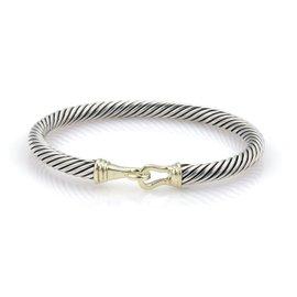 David Yurman 925 Sterling Silver & 14K Yellow Gold Cable Hook & Eye Bangle Bracelet