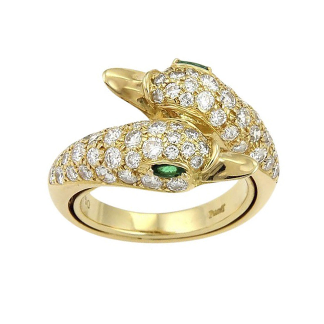"""Image of """"Piaget 18K Yellow Gold Diamonds & Emerald Swan Bypass Ring Size 4.75"""""""