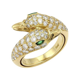 Piaget 18K Yellow Gold Diamonds & Emerald Swan Bypass Ring Size 4.75