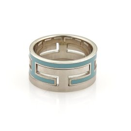 Hermes 925 Sterling Silver Interlocking H Blue Enamel Band Ring Size 6.5
