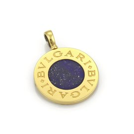 Bulgari 18K Yellow Gold & Stainless Steel Lapis & Onyx Circle Disc Reversible Pendant