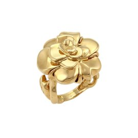 Chanel Camellia 18K Yellow Gold Flower & Leaves Ring Size 5