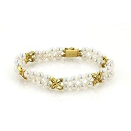Mikimoto 18K Yellow Gold Akoya Pearls Double Strand Bracelet