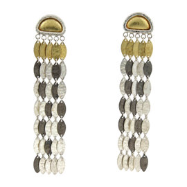 Gurhan 925 Sterling Silver & 24K Yellow Gold Willow 5 Strand Leaf Long Dangle Earrings