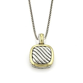 David Yurman Albion 925 Sterling Silver & 18K Yellow Gold Cable Pendant Necklace