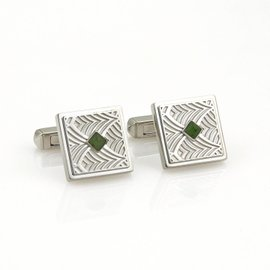 Cartier 925 Sterling Silver Jade Fancy Carved Square Stud Cufflinks