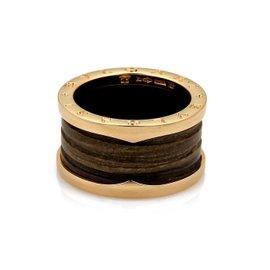 Bulgari 18K Rose Gold B Zero1 Brown Marble Band Ring Size 7.5