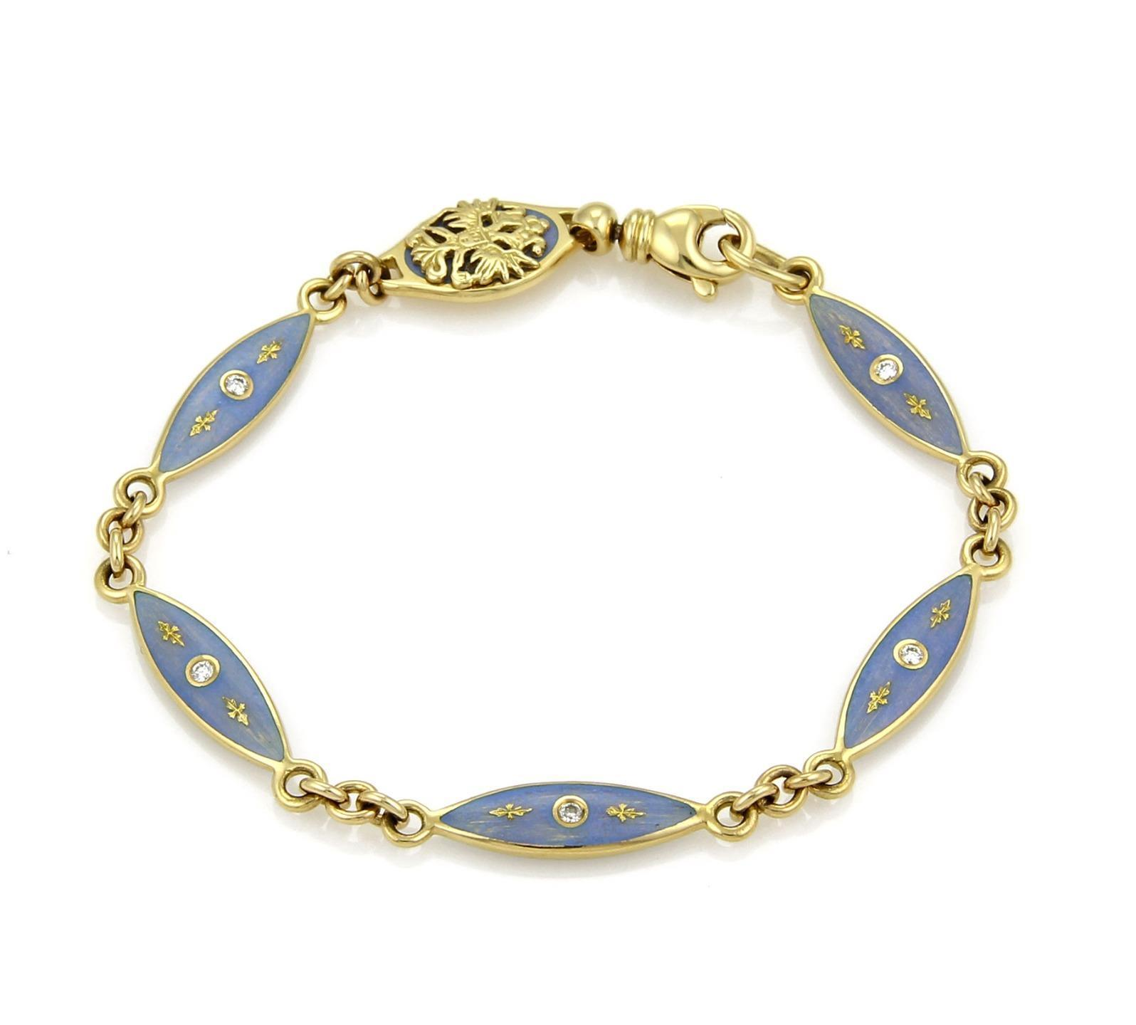 "Image of ""Faberge 18K Yellow Gold Diamond & Enamel Marquise Link Bracelet"""