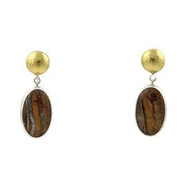 Gurhan Galapagos Sterling Silver & 24K Yellow Gold Tiger's Eye Dangle Earrings