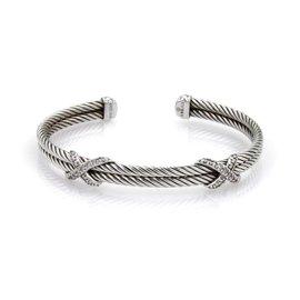 David Yurman 925 Sterling Silver 0.50ct. Diamond Double Cable X Design Cuff Bracelet