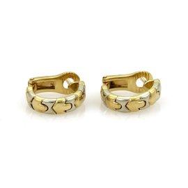 Bulgari Bvlgari 18K Yellow & White Gold Parentesi Hoop Earrings