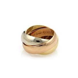 Cartier 18K Yellow White & Rose Gold Trinity Rolling Band Ring Size 4.5