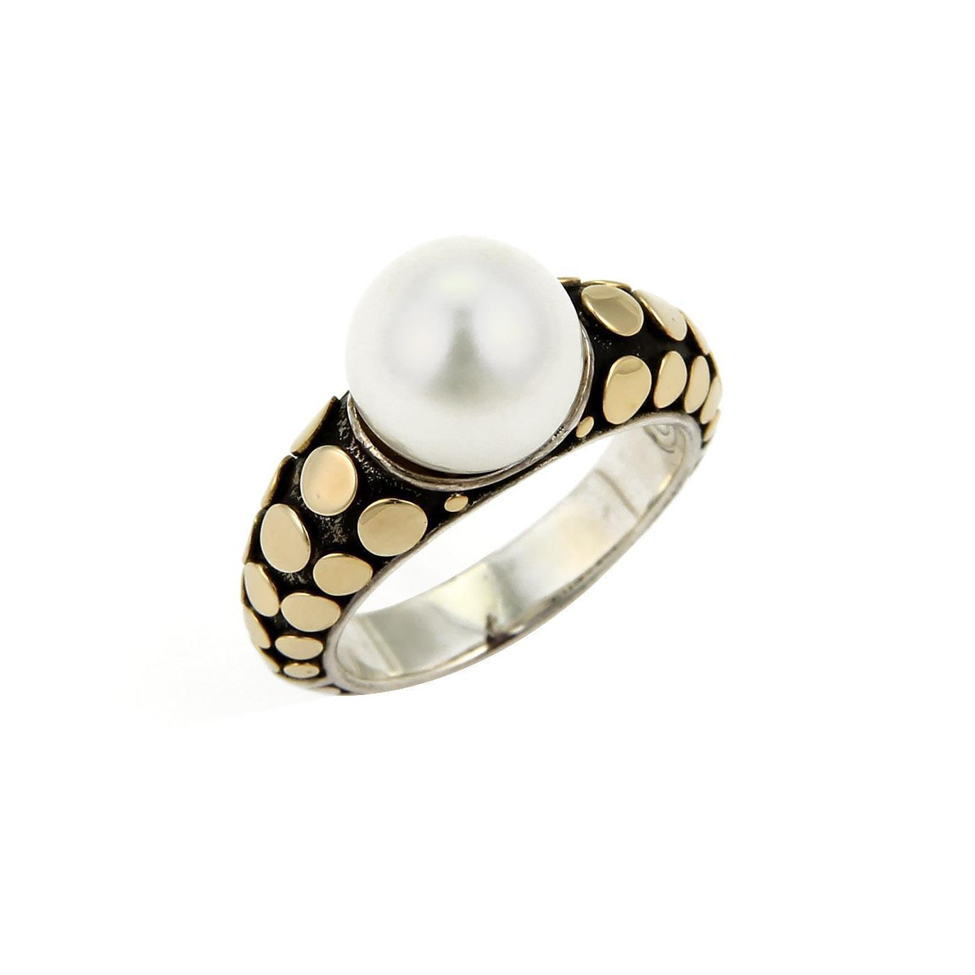 "Image of ""John Hardy 18K Yellow Gold & 925 Sterling Silver Dots Pearl Ring Size"""