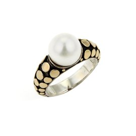 John Hardy 18K Yellow Gold & 925 Sterling Silver Dots Pearl Ring Size 7