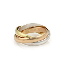 Cartier 18K Yellow White & Rose Gold Trinity Band Ring Size 8