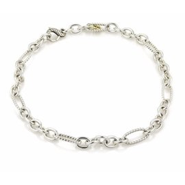 David Yurman 925 Sterling Silver Classic Cable Wire Oval Chain Link Necklace