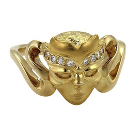 Carrera Y Carrera 18K Yellow Gold Diamond Masked Face Ring Size 6
