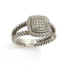 David Yurman Petite Albion 925 Sterling Silver & Diamond Cable Ring Size 7