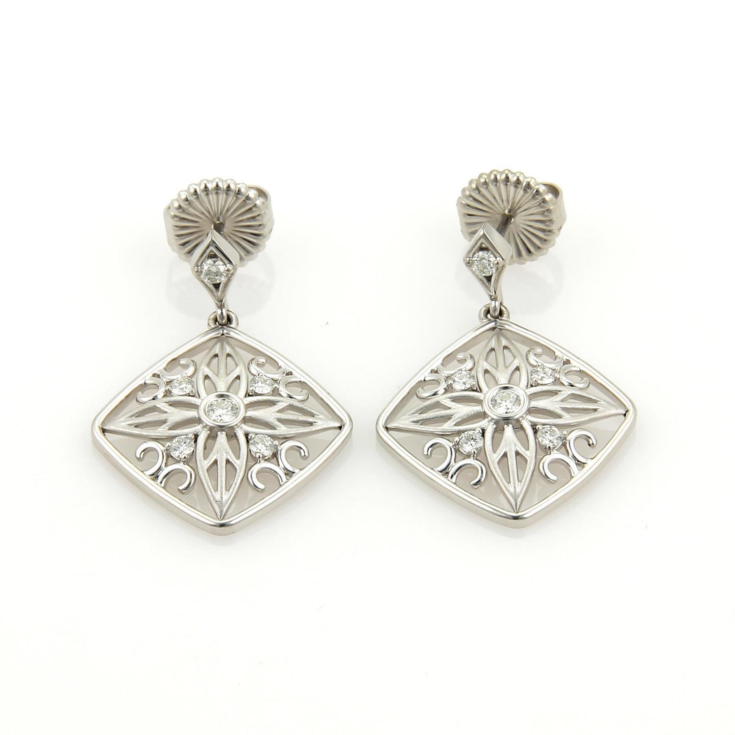 "Image of ""Hearts On Fire 18K White Gold 0.20ct. Diamond Floral Dangle Earrings"""