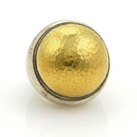 Gurhan Dome 24K Gold & Sterling Silver Hammered Ring Size 6.5