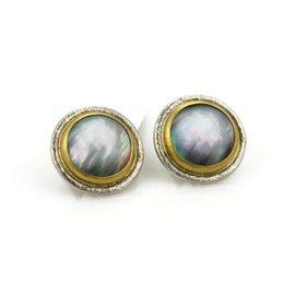 Gurhan Sterling Silver & 24K Gold Mother Of Pearl Post Clip Earrings