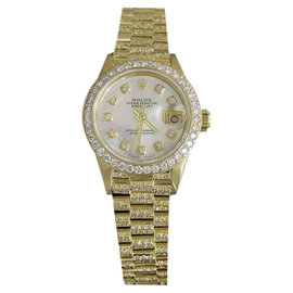 Rolex Datejust 69178 18K Yellow Gold Diamond Dial, Bezel & Band 26mm Womens Watch