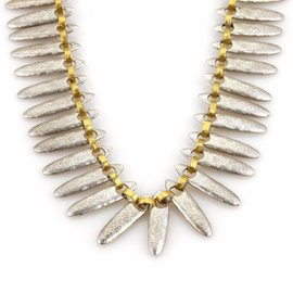 Gurhan 925 Sterling Silver & 24K Yellow Gold Hammered Necklace