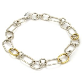 Gurhan Hoopla 925 Sterling Silver & 24K Yellow Gold Hammered Link Necklace