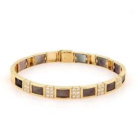Van Cleef & Arpels 18K Yellow Gold Diamond & Mother of Pearl Bracelet