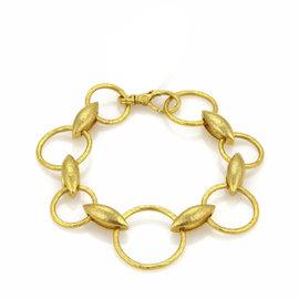 Gurhan Wheatla 24K Yellow Gold Circle & Wheat Link Bracelet