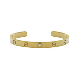 Cartier Love 18K Yellow Gold with 0.10ct Diamond Cuff Bracelet