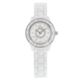 Christian Dior VIII CD1221E2C001 Stainless Steel & Ceramic wDiamonds Quartz 28mm Womens Watch