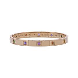 Cartier Love 18K Rose Gold with Sapphires, Garnets and 2 Amethysts Bangle Bracelet