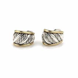 David Yurman 925 Sterling Silver and 18K Yellow Gold Cigar Band Post Clip Earrings