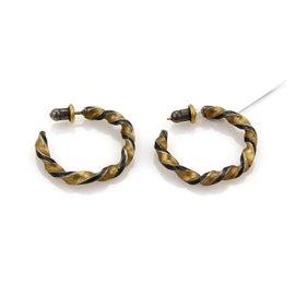 Gurhan 925 Sterling Silver & 24K Yellow Gold Twisted Hoop Earrings