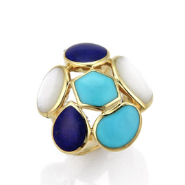 Ippolita Rock Candy 18K Yellow Gold Turquoise Mother of Pearl & Lapis Ring Size 7
