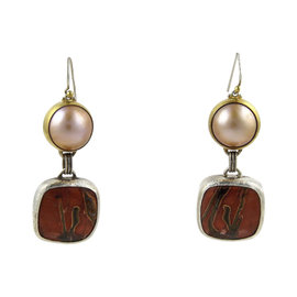 Gurhan 925 Sterling Silver & 24K Yellow Gold Red Agate Mabe Pearl Earrings