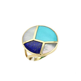 Ippolita Rock Candy 18K Yellow Gold Turquoise Lapis & Mother of Pearl Ring Size 7