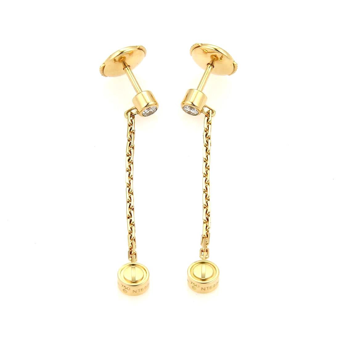 "Image of ""Cartier Love 18K Yellow Gold Diamond Dangle Earrings"""