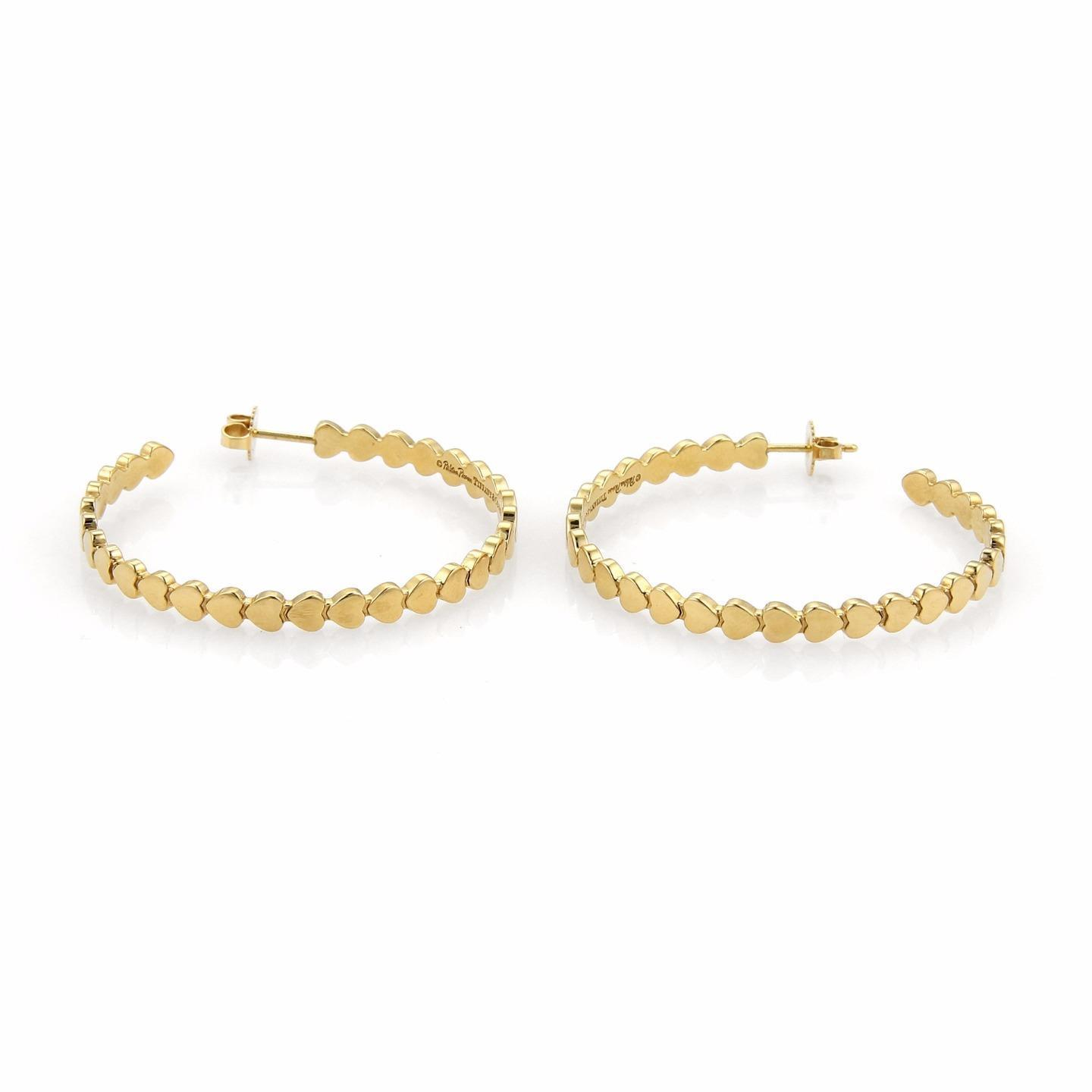 """Image of """"Tiffany & Co. 18K Yellow Gold Hearts Large Hoop Earrings"""""""