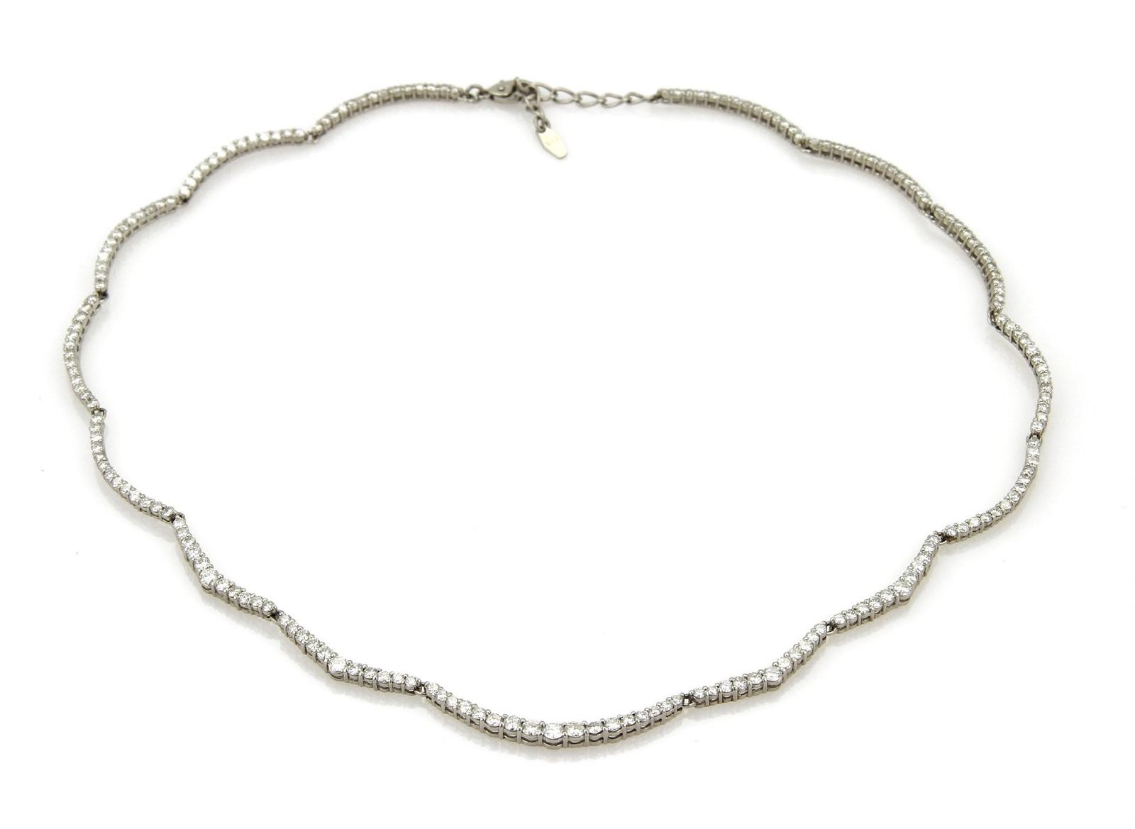 "Image of ""Platinum with 5.00ct Diamond Curved Necklace"""