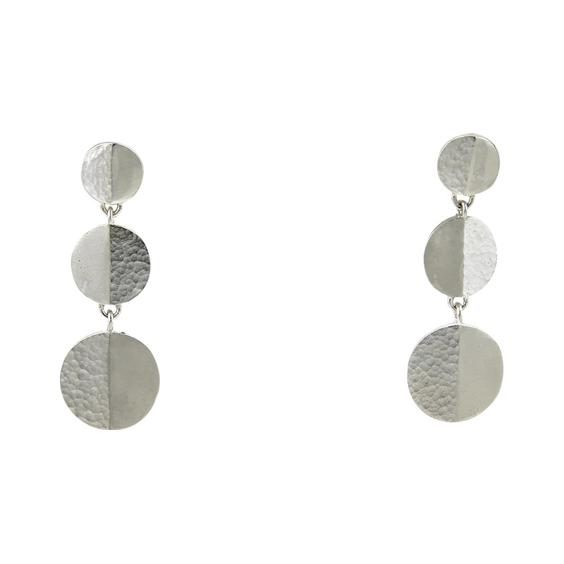 "Image of ""Gurhan 925 Sterling Silver Triple Disc Hook Dangle Earrings"""