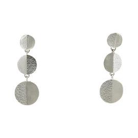 Gurhan 925 Sterling Silver Triple Disc Hook Dangle Earrings