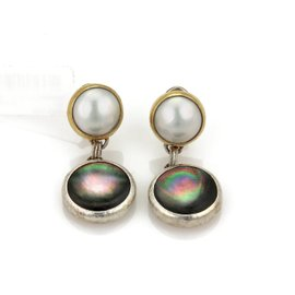 Gurhan Galapagos 925 Sterling Silver & Layered 24K Yellow Gold Mother of Pearl Dangle Earrings