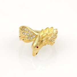 Carrera y Carrera 18K Yellow Gold with Diamond & Ruby Eagle Ring Size 6