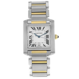 Cartier Tank Francaise W51005Q4 Stainless Steel And Yellow Gold Automatic 28mm Mens Watch