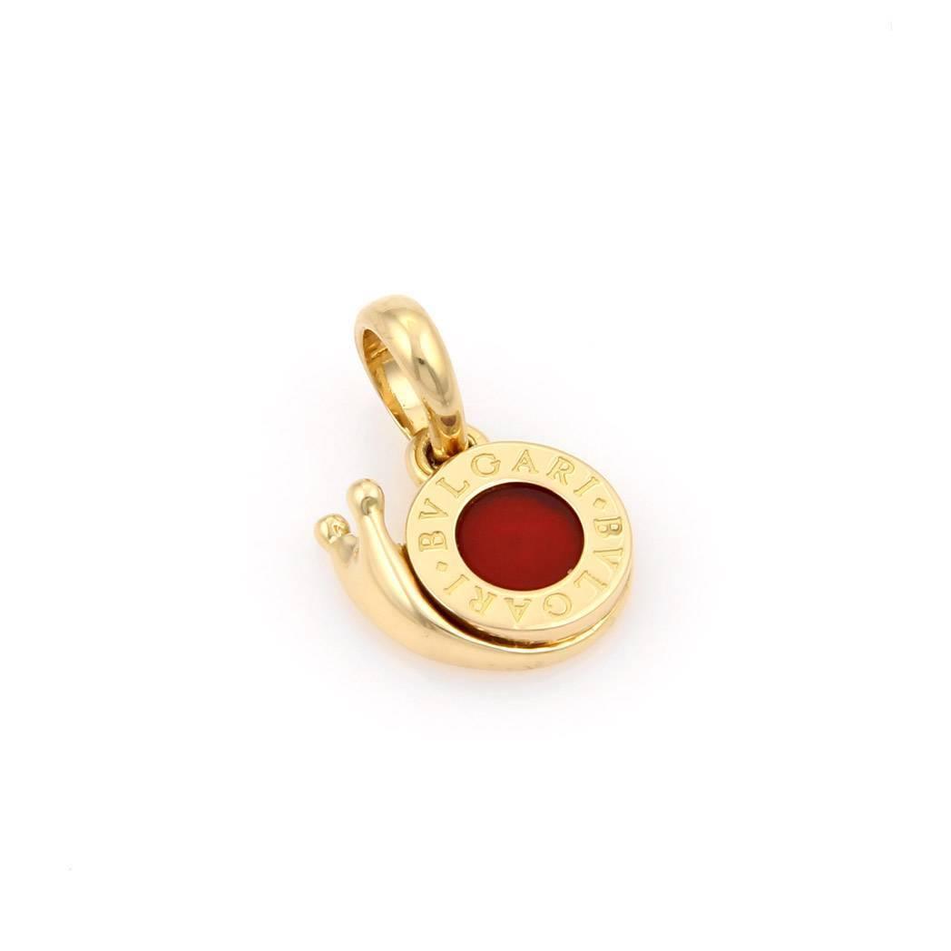 "Image of ""Bulgari 18K Yellow Gold & Carnelian Snail Pendant"""
