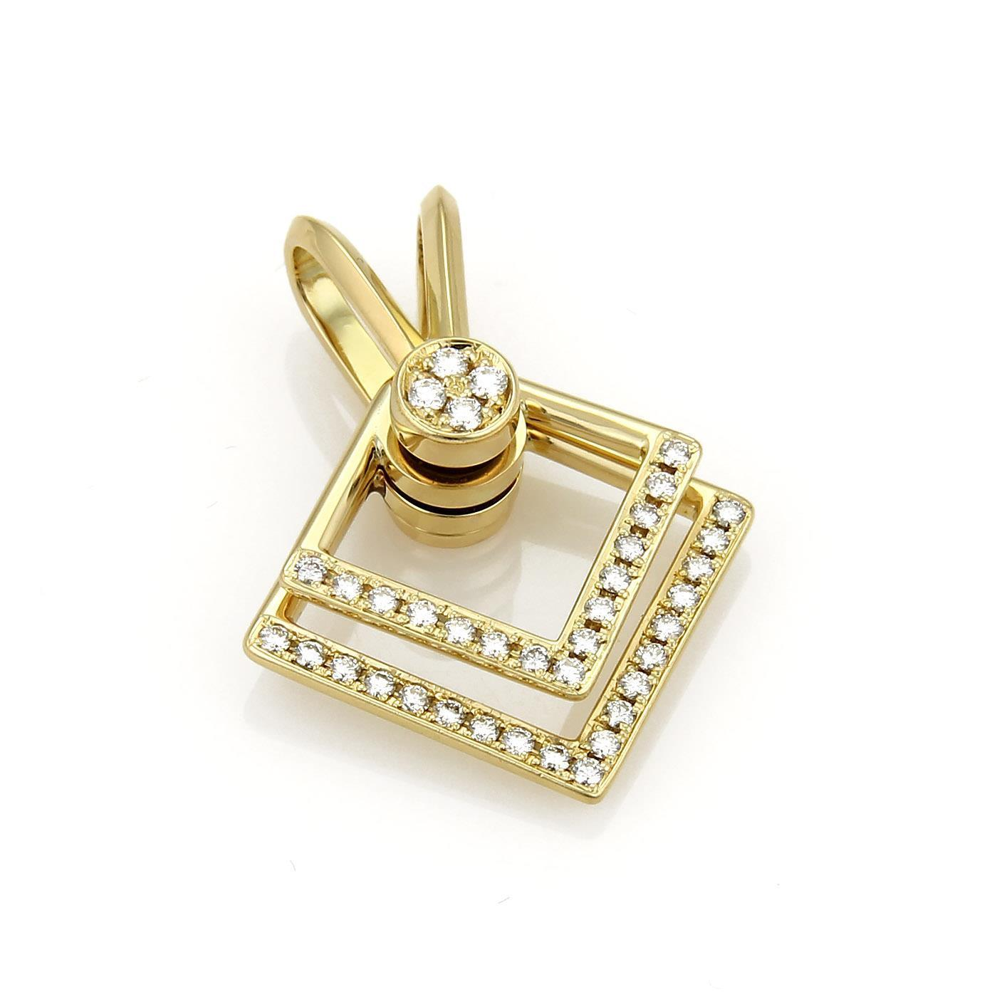 "Image of ""Waltham 18K Yellow Gold 0.25ct. Diamond Double Square Spinner Pendant"""