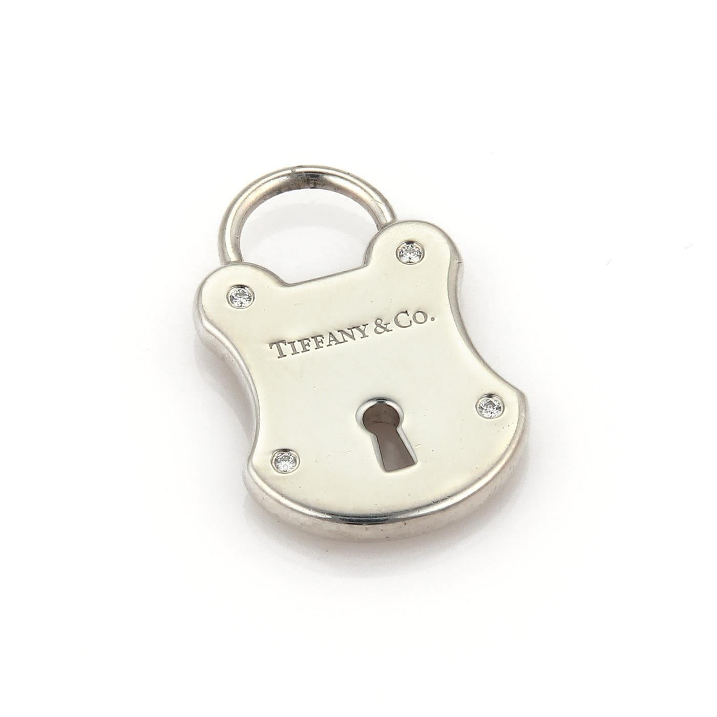 "Image of ""Tiffany & Co. 925 Sterling Silver Diamond Classic Padlock Charm"""